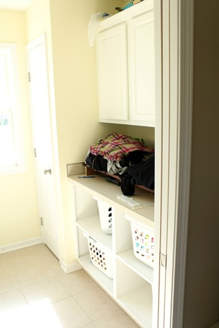 organize front entry with this little mudroom corner cubby