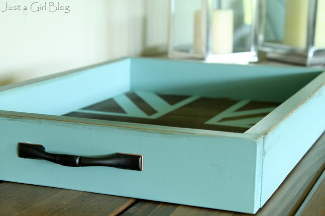 rustic blue tray