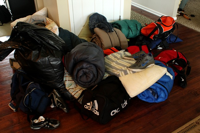 sleeping bag pile