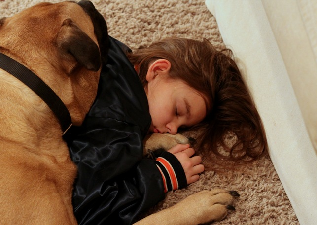 dog and girl sleeping