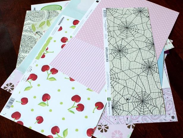 scrapbook paper pile